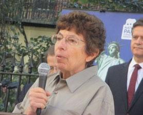 Martha Shelley speaking at the Stonewall Inn on September 20, 2015.