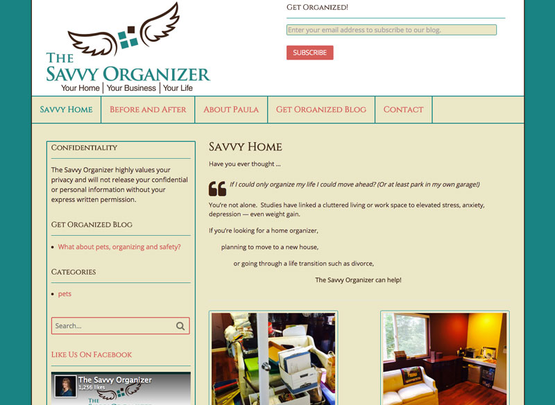 The Savvy Organizer website home page