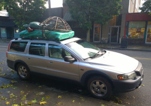 Silver Volvo packed for a cross-country trip