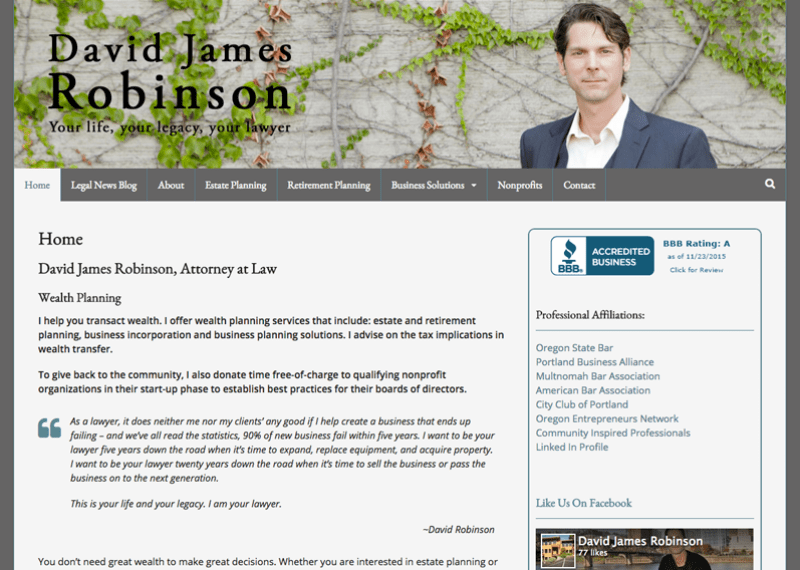 David James Robinson WordPress website by Waterlink Web