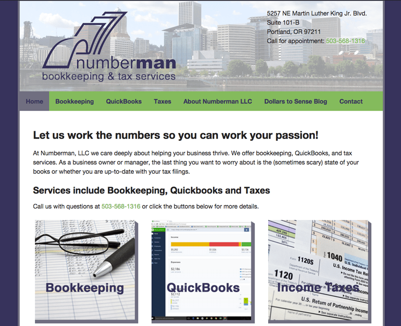 Numberman LLC WordPress website by Waterlink Web