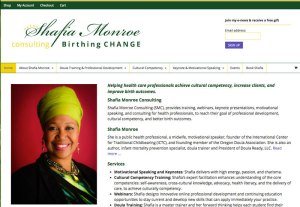 Screenshot of the Shafia Monroe website, ShafiaMonroe.com