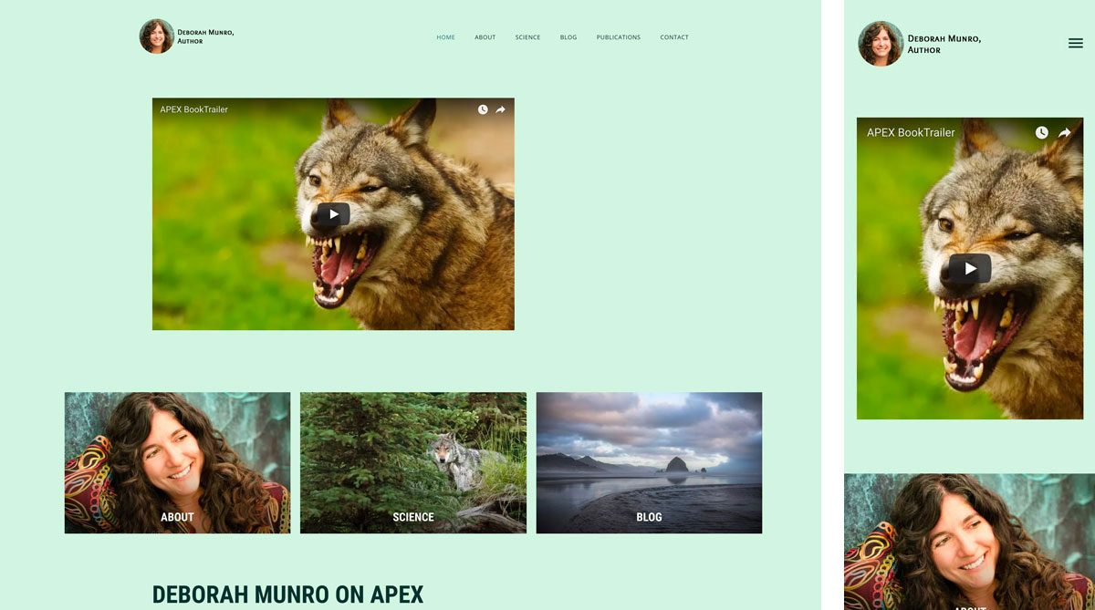 Deborah Munro's Author website in full and mobile versions