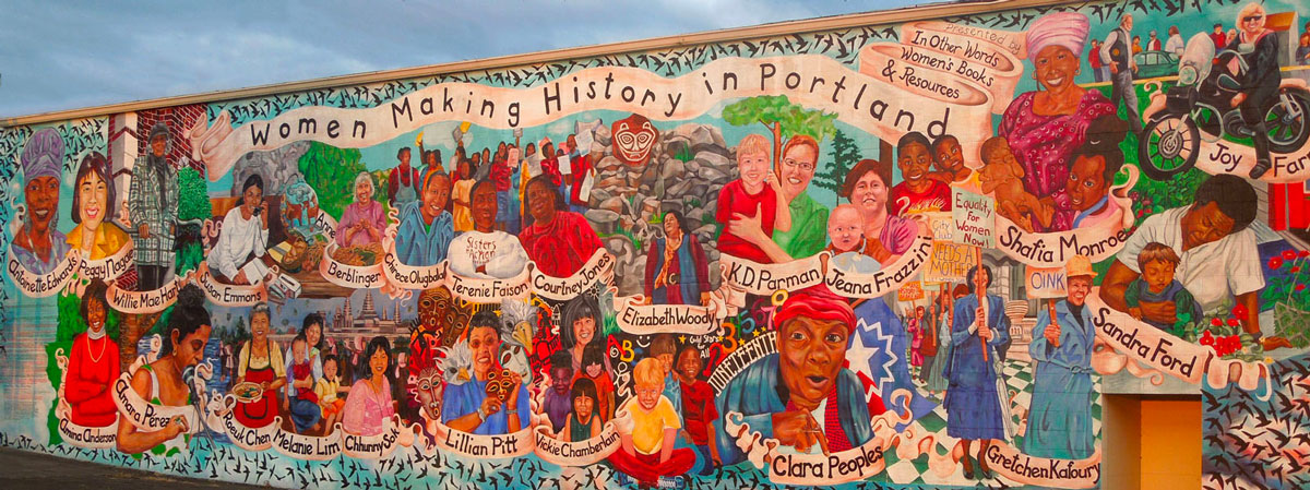 Women Making History in Portland mural at N Russell and Interstate