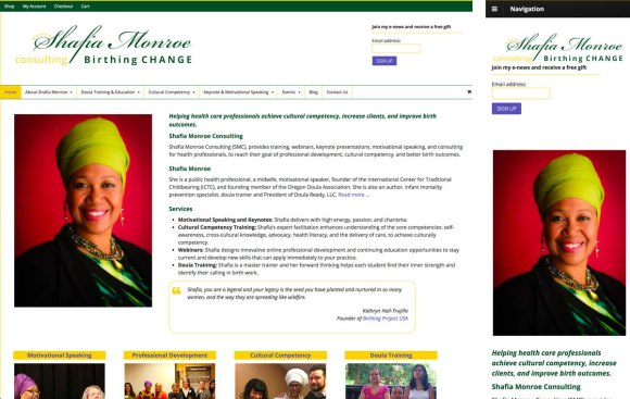 Shafia Monroe's website in full and mobile versions
