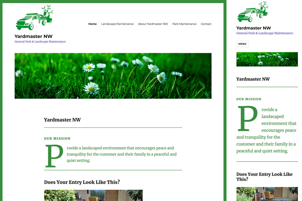 Yardmaster NW website in full and mobile versions