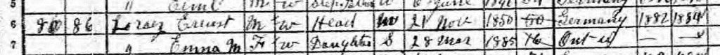 1901 Waterloo Census of Canada; Source: ancestry.com