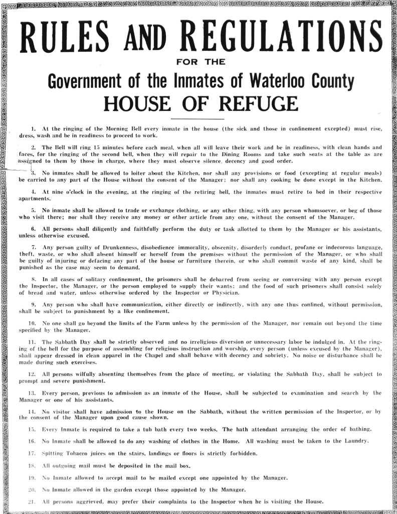 House of Industry and Refuge Rules and Regulations; Source: Region of Waterloo Archives