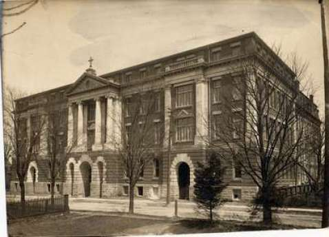 St. Jeromes College established 1865 in the village of Berlin. Current home of the Lyle S Hallman Faculty of Social Work in downtown Kitchener, Ontario, Canada. Image circa 1907 courtesy of the Kitchener Public Library