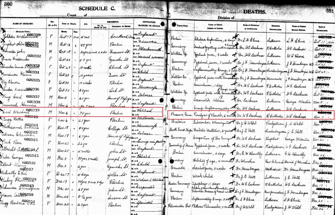Michael Carl's Death Certificate; Source: ancestry.ca