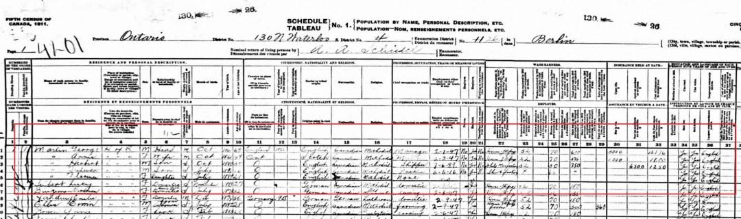 1911 Canada Census; Source: ancestry.ca