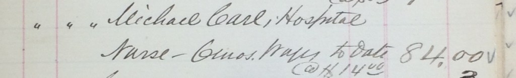 Michael Carl in Keeper's Cashbooks; Source: Region of Waterloo Archives