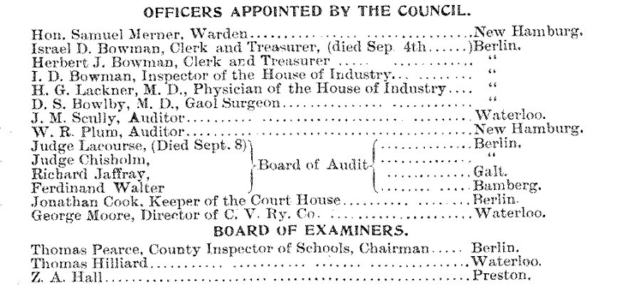 Journal of Proceedings and By-Laws of the Municipal Council of the County of Waterloo 1896; Source: Region of Waterloo Archives