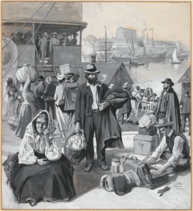 Le quai d'immigrants à Québec. ca. 1904. Crédit: Bibliothèque et Archives Canada, no d'acc R9266-273 Collection de Canadiana Peter Winkworth Droit d'auteur: Expiré
