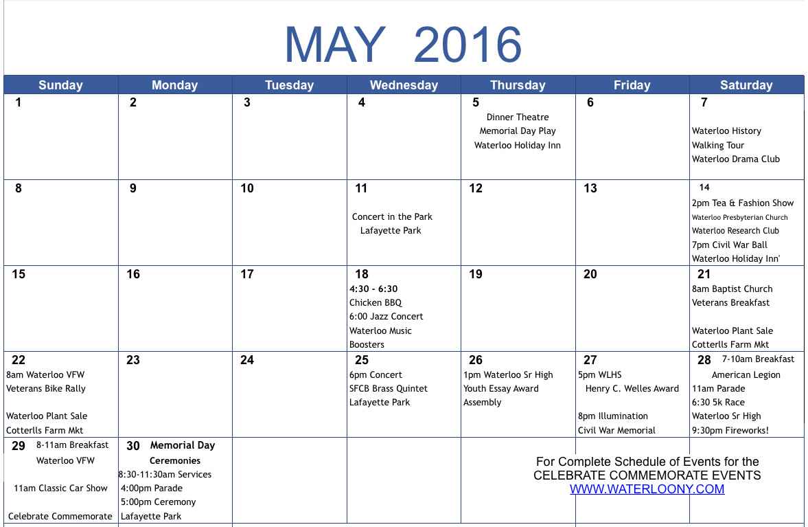Monthly 2016 Calendar Events