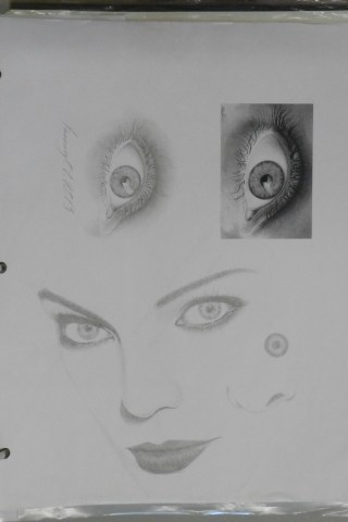 Line Drawings, Eye in Charcoal, Black and White Art
