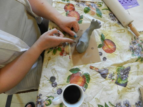Clay Sculptures, Bridgeport Cafe, Marginalized Adults, Community Art