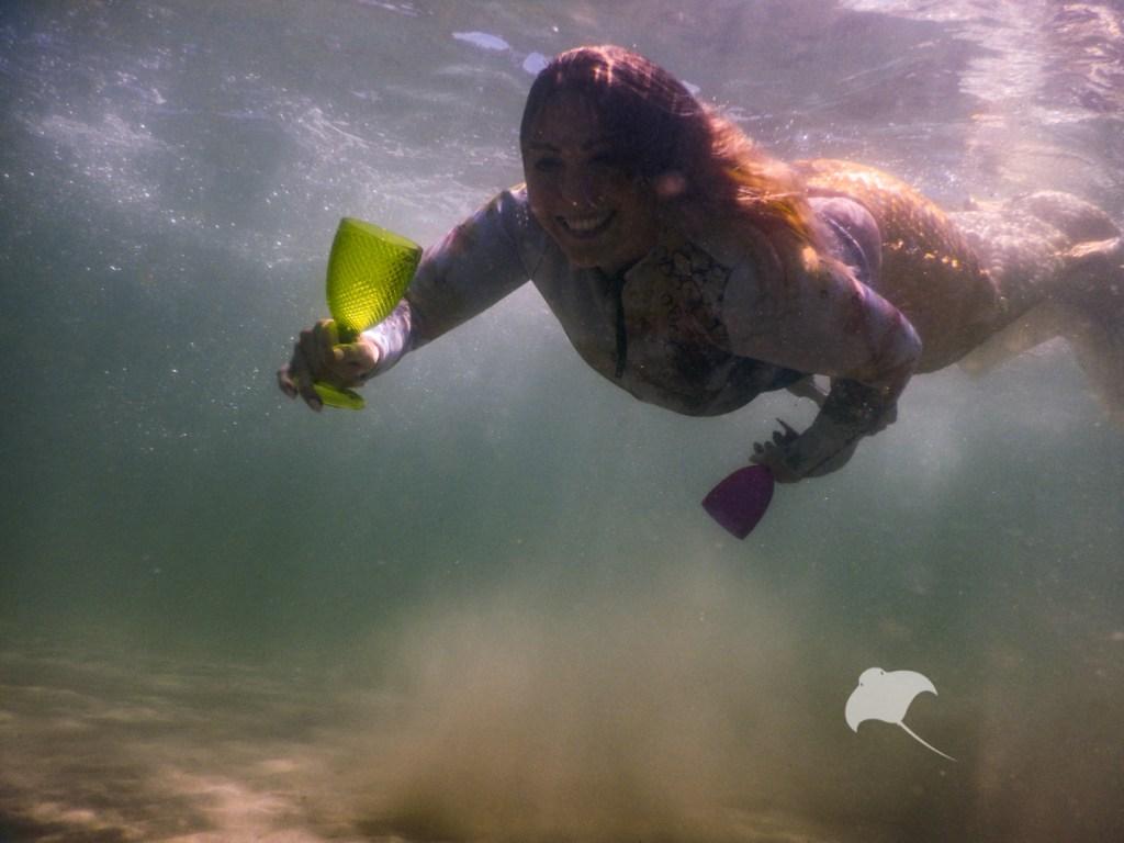 Mermaid Jess celebrates at Popes Eye