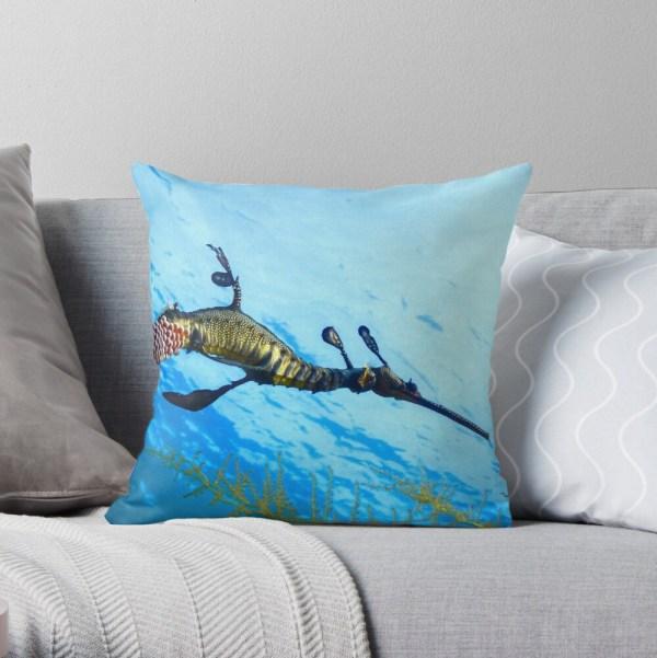 Throw Pillow Weedy Seadragon Print