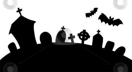 Cemetery Silhouette Stock Vector