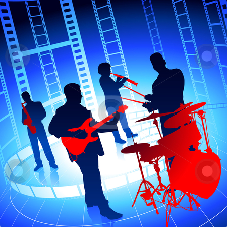 Live Music Band on Film Reel Background stock vector