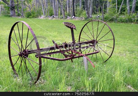 Antique Hay Rake, Rusted stock photo