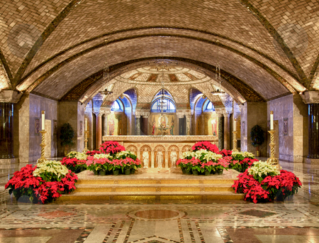 Altar of Crypt church at Basilica in Washington stock photo, Basilica of the National Shrine of the Immaculate Conception in Washington DC showing interior of Crypt church built in 1920 by Steven Heap