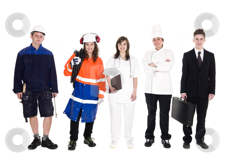 Group of people with different occupation stock photo