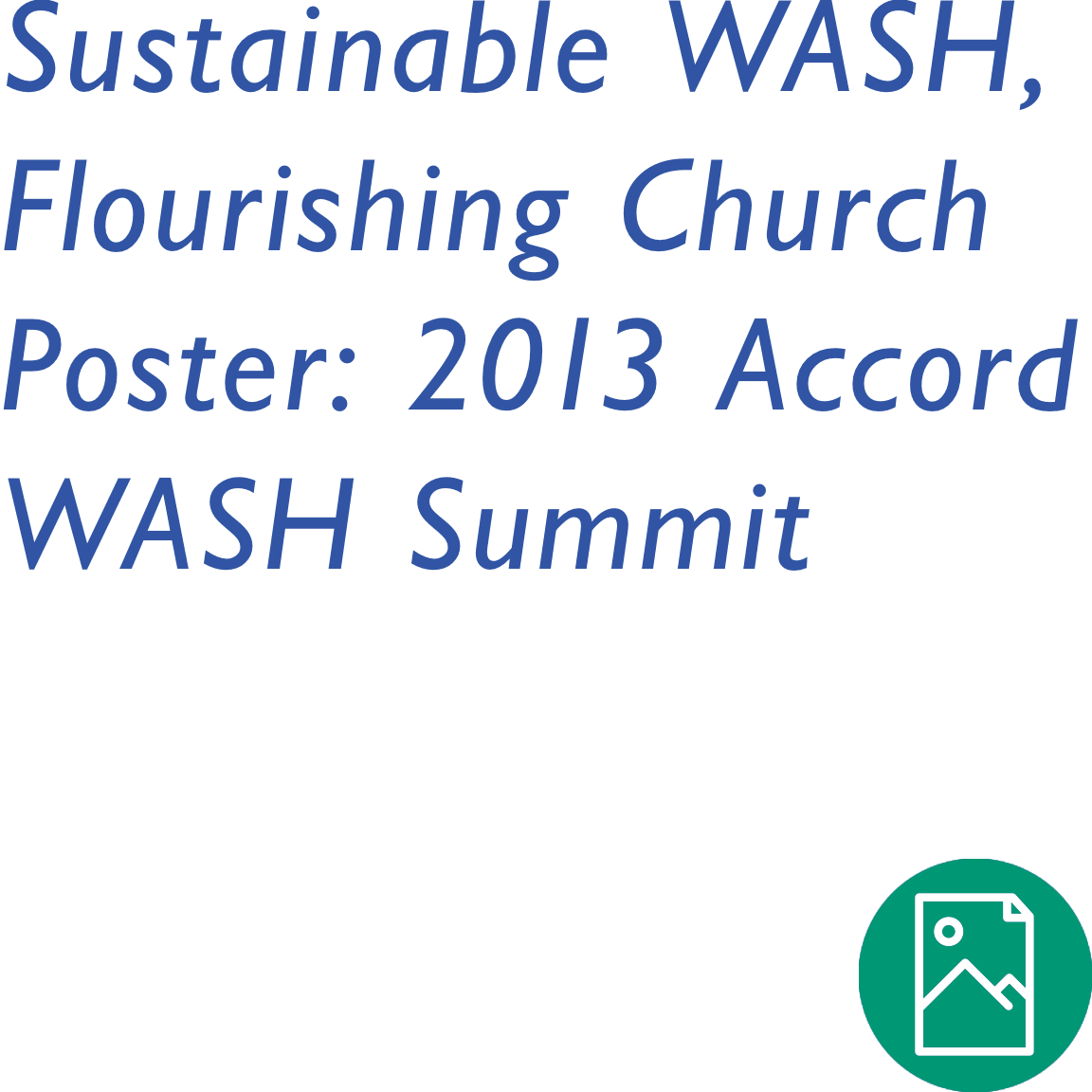 Sustainable WASH, Flourishing Church