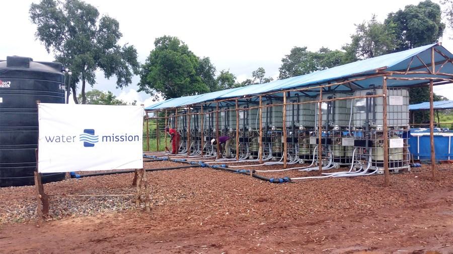 Solar Powered Safe Water Treatment Equipment setup in Nyarugusu Refugee Camp, Tanzania.