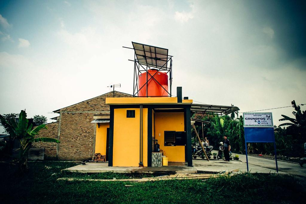 A water treatment system in Indonesia supplied via a solar powered pump.