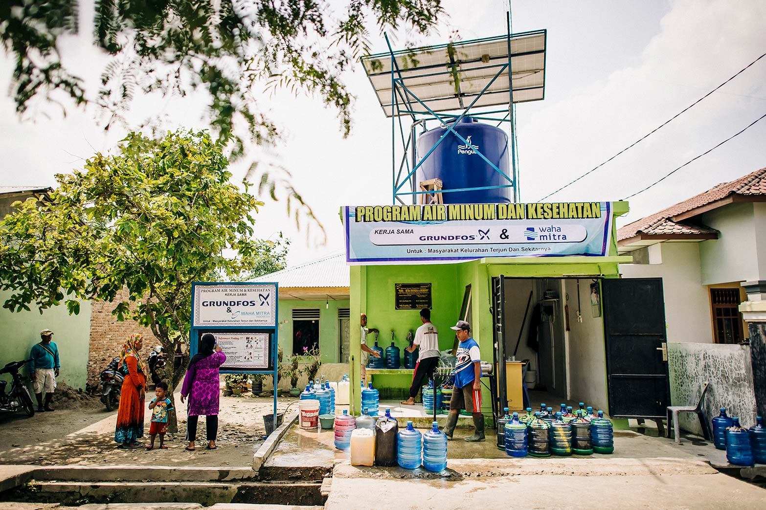 A Water Mission safe water treatment system provides safe water to an entire community in Indonesia.