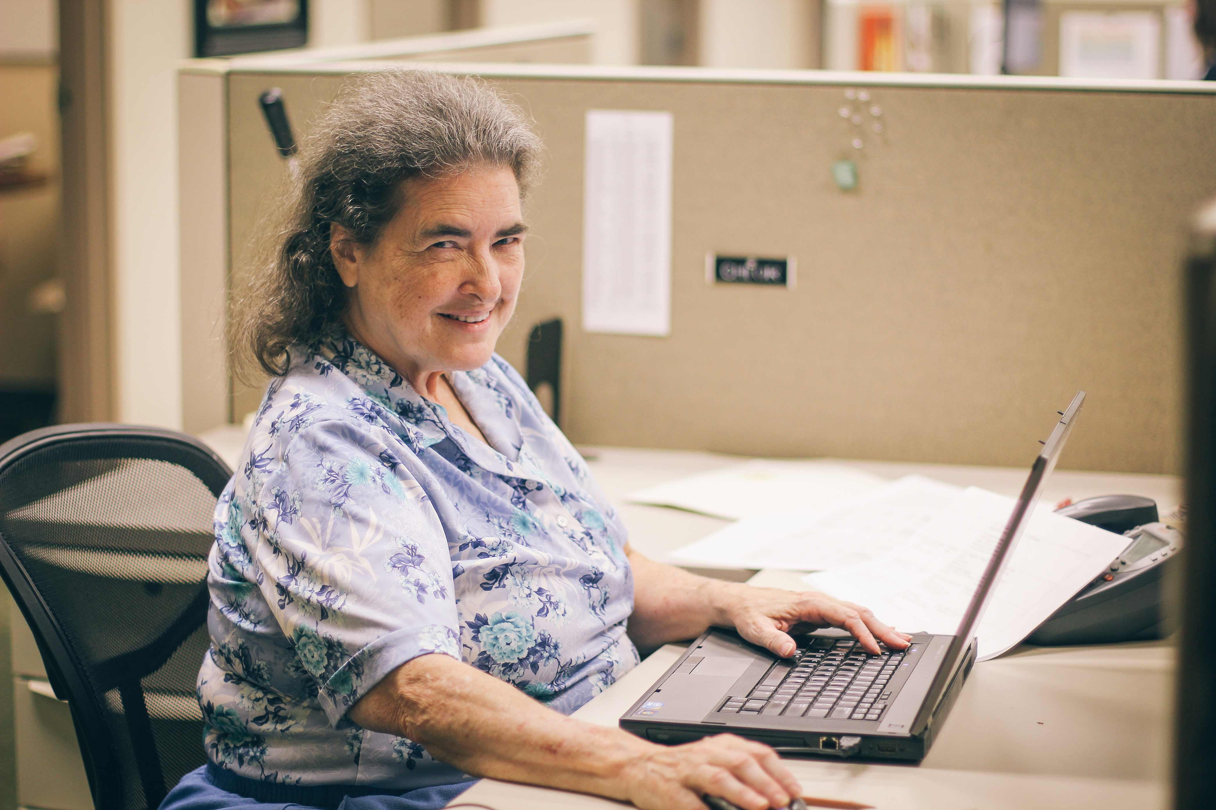 Cathy works hard as a volunteer to make an impact through safe water at Water Mission's headquarters in North Charleston, SC.