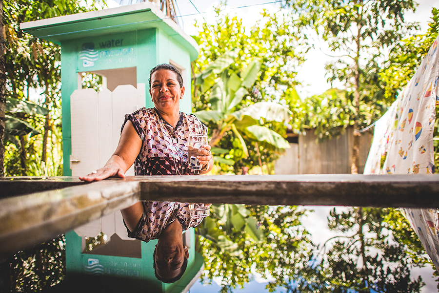 Ubelia Escobar couldn't be happier to have access to safe water for her family.
