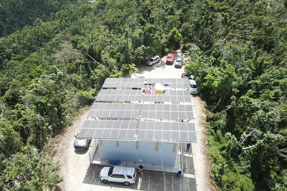 Solar-powered water pumping in Puerto Rico.