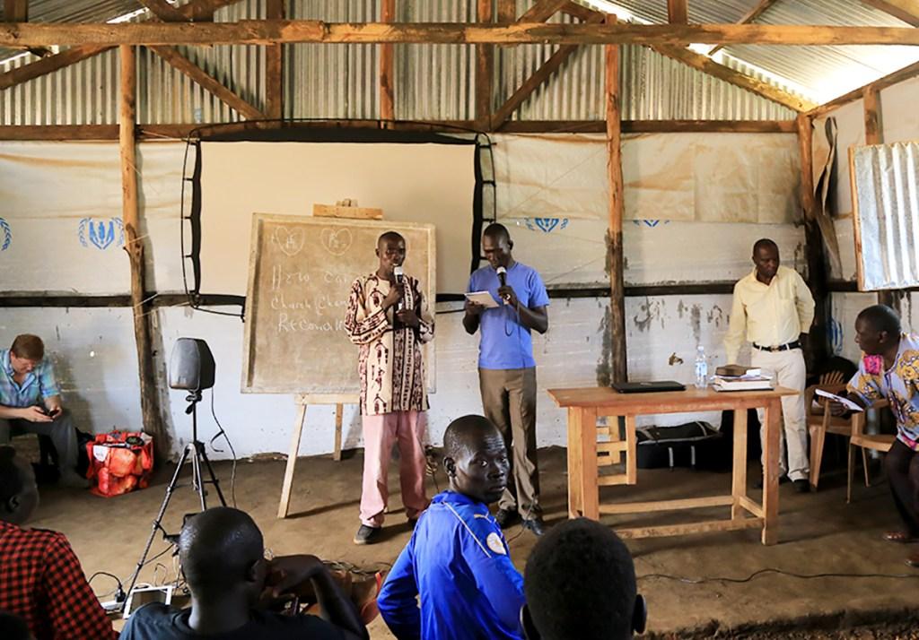Biblical teaching during the program.