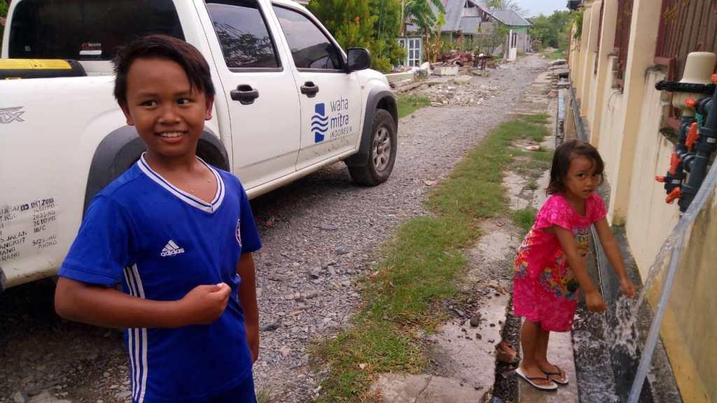 Children drinking safe water in Palu, Indonesia!