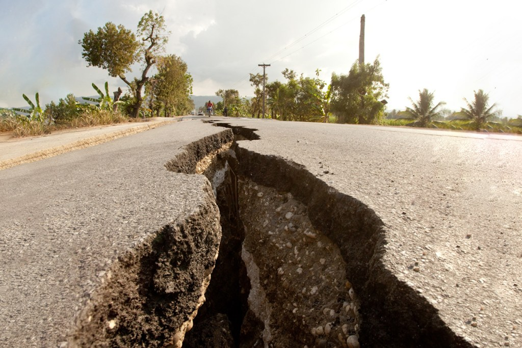 Cracked roads following the earthquake