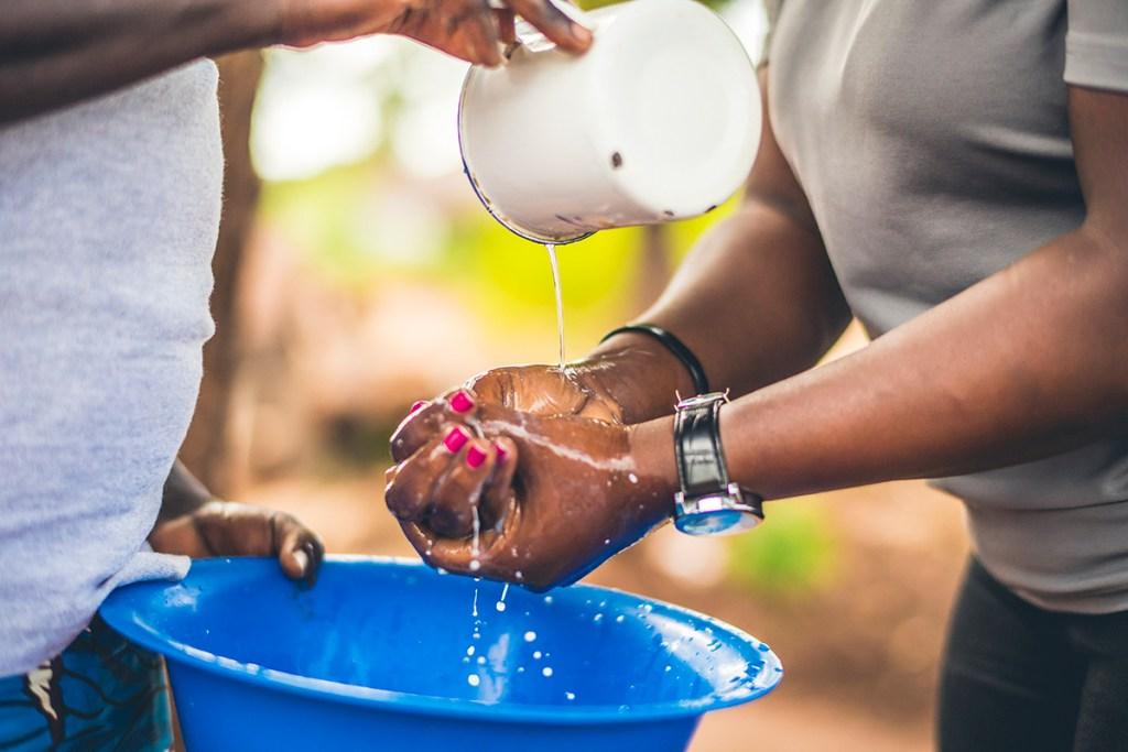 Teaching handwashing in Bidi Bidi refugee settlement