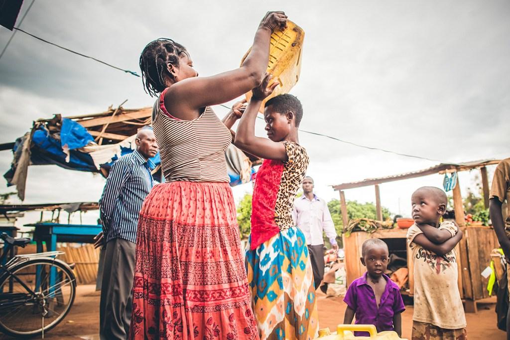 Collecting water in Uganda