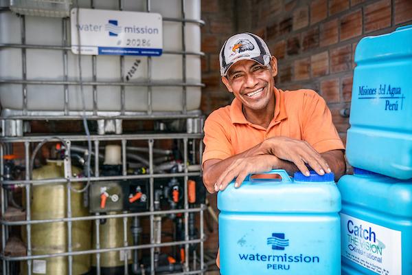 Water Mission system operator Hildebrando Ruiz Hildebrando Ruiz in Nina Rumi, Peru