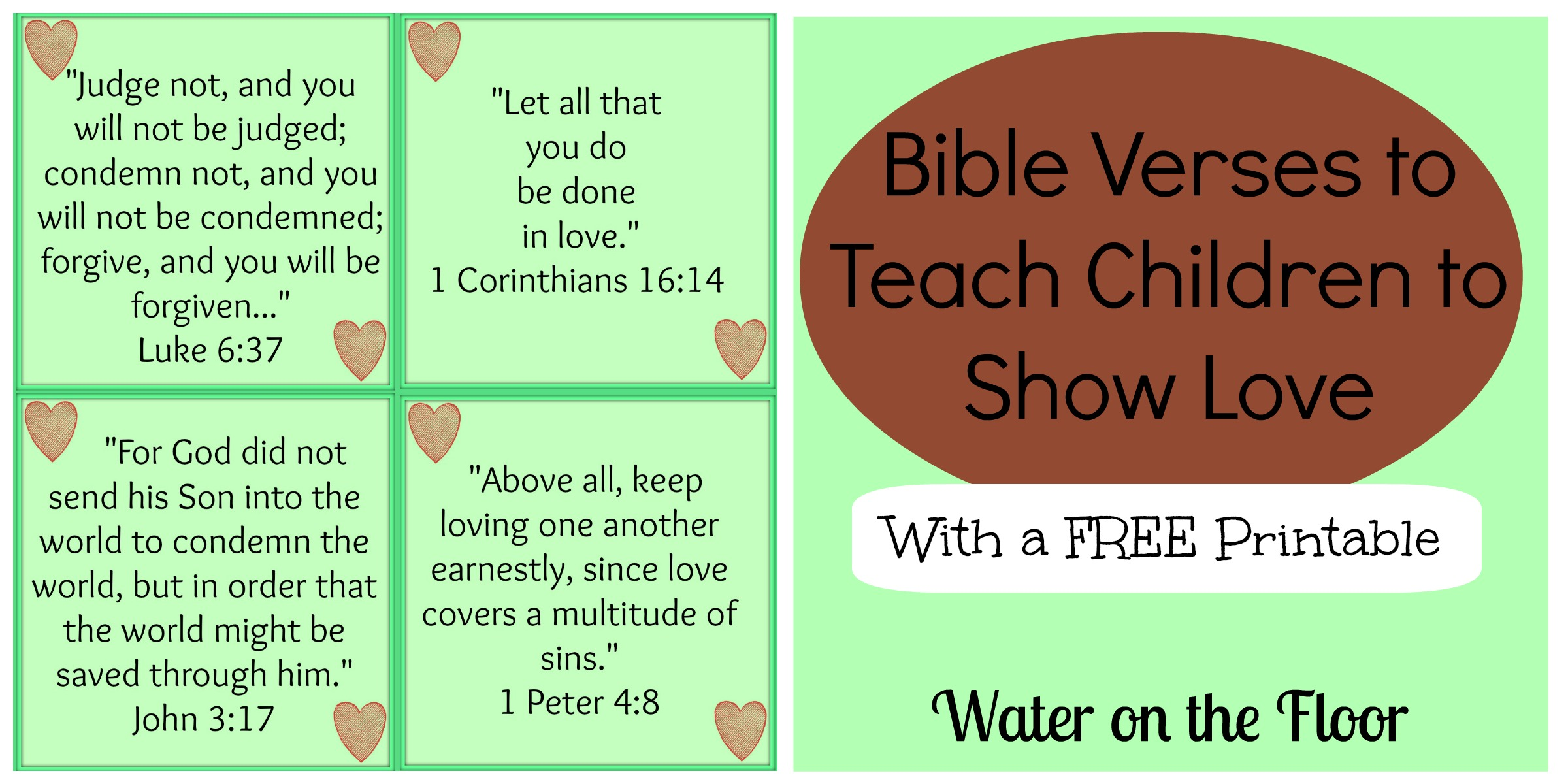 Bible Verses To Teach Children To Show Love With A Free