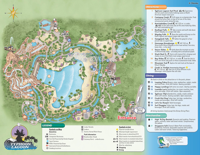 Overview of the entire Typhoon Lagoon with Park Map