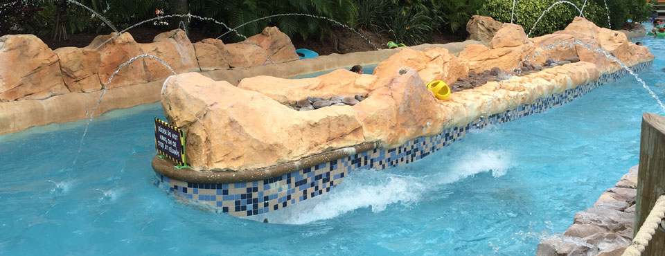 View of the Roa Rapids fast section at Aquatica Orlando Lazy River wide