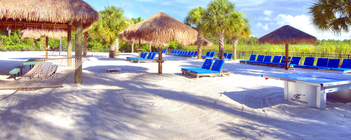 White Sandy Beach with comfortable Lounge Chairs, Hammocks and Ping Pong at the Bahama Bay Resort in Orlando 1200