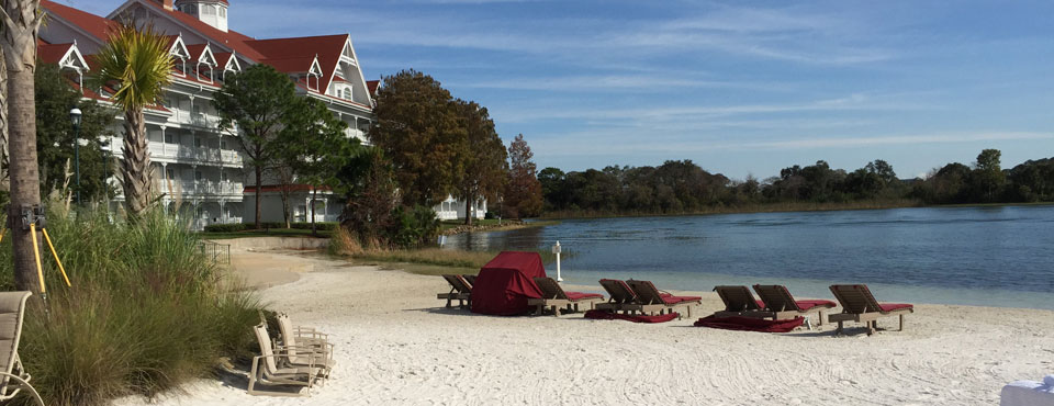 Enter the Beach on the Seven Seas Lagoon on the Banks of the Grand Floridian Resort in Orlando