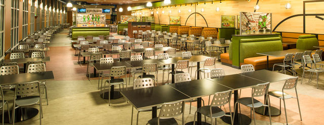 View of the Dining Tables in the Food Court at the Disney All Star Sports Resort 640 wide