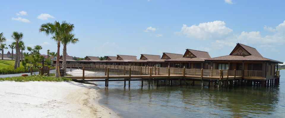 View of the Bungalows perched above the Seven Seas Logoon at the Disney Polynesian Resort Villas 960