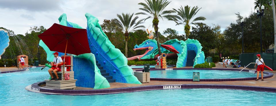View of the main pool area with Serpent Water Slide at the Disney New Orleans Resort French Quarter 960