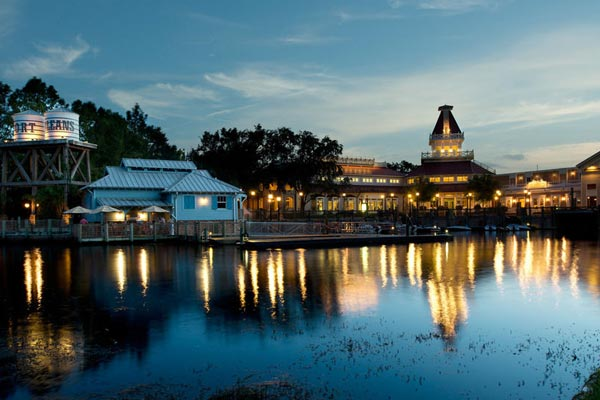 View of the dock and port entrance to Disney Port Orleans Riverside in the evening 600
